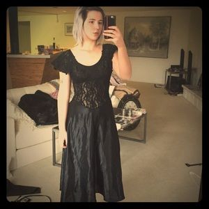 VINTAGE 80s Black Lace and Silk Dress